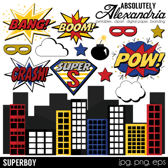 SuperBoy Digital Clipart Graphics  Absolutely Alexandria    Mygrafico