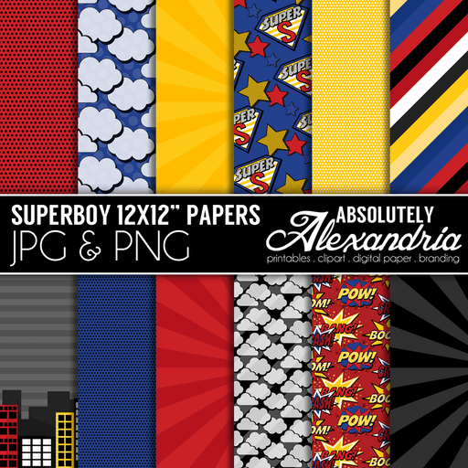 "SuperBoy 12x12"" Digital Background Papers  Absolutely Alexandria    Mygrafico"