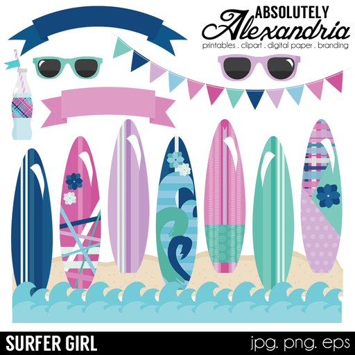 Surfer Girl Digital Clipart Graphics  Absolutely Alexandria    Mygrafico
