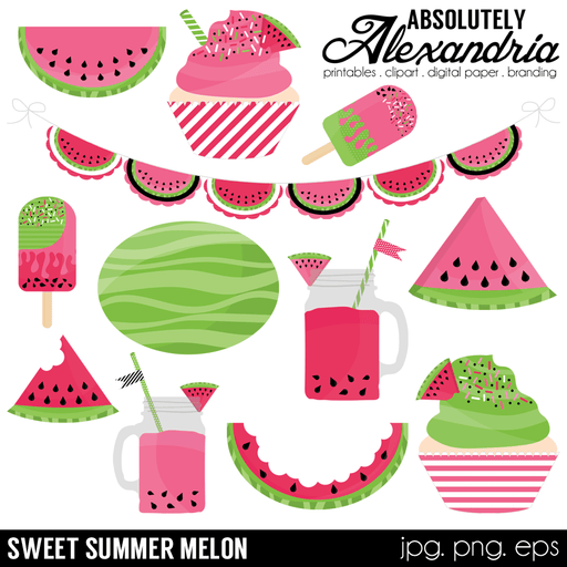 Sweet Summer Melon Digital Clipart Graphics  Absolutely Alexandria    Mygrafico