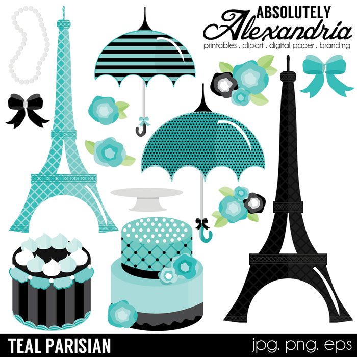 Teal Parisian Digital Clipart Graphics  Absolutely Alexandria    Mygrafico