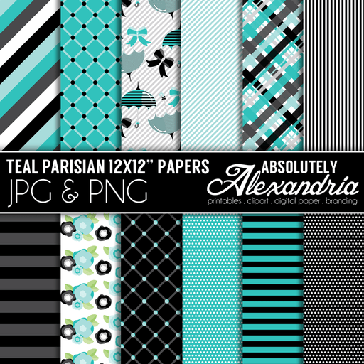 "Teal Parisian 12x12"" Digital Background Papers  Absolutely Alexandria    Mygrafico"