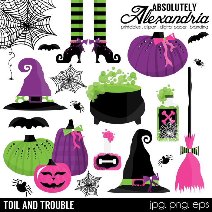 Toil & Trouble Digital Clipart Graphics  Absolutely Alexandria    Mygrafico