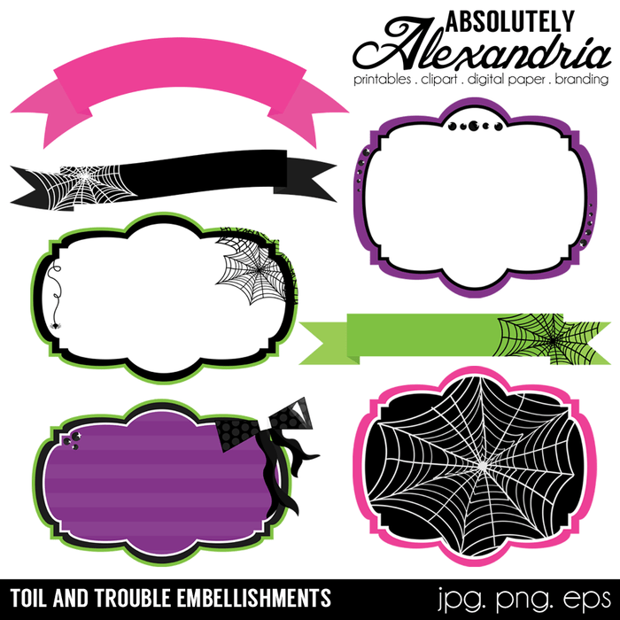 Toil & Trouble Frames Digital Clipart Graphics  Absolutely Alexandria    Mygrafico