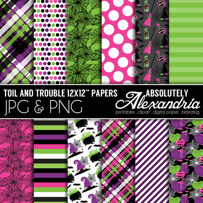 "Toil & Trouble 12x12"" Digital Background Graphics  Absolutely Alexandria    Mygrafico"