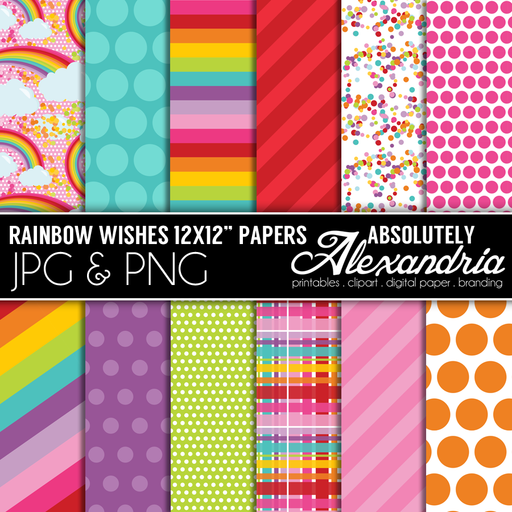 Rainbow Wishes Digital Papers and Backgrounds Digital Papers & Background Absolutely Alexandria    Mygrafico