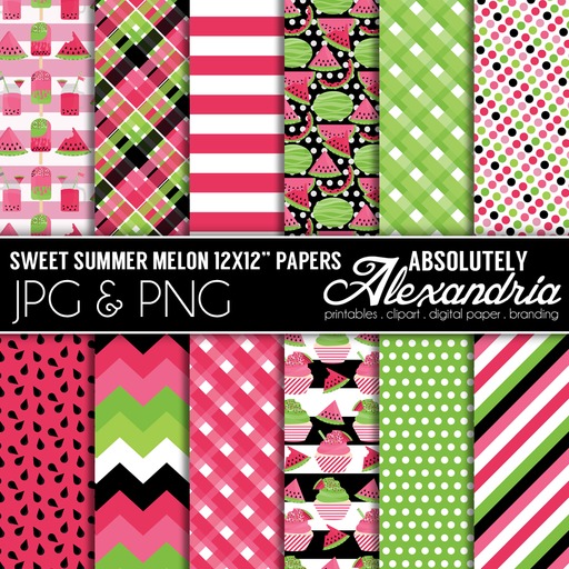 Sweet Summer Melon Digital Background Graphics