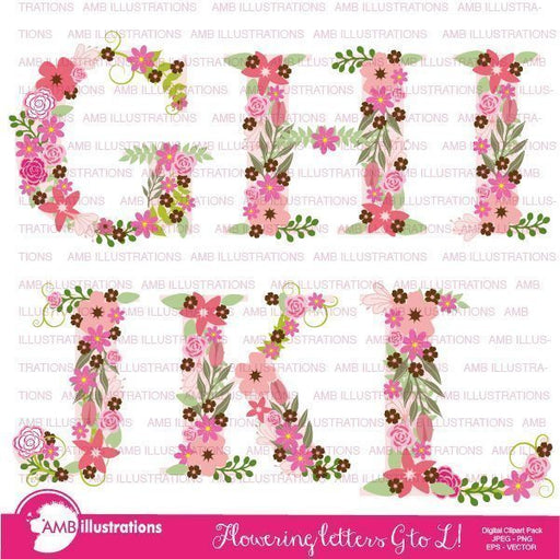 Floral Alphabet clipart G TO L  AMBillustrations    Mygrafico