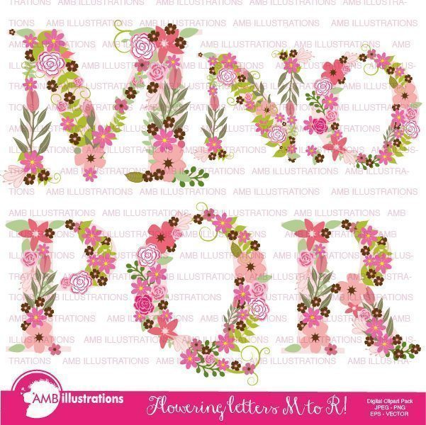 Floral Alphabet clipart M TO R  AMBillustrations    Mygrafico