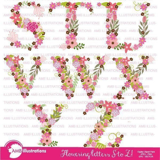 Floral Alphabet clipart S TO Z  AMBillustrations    Mygrafico