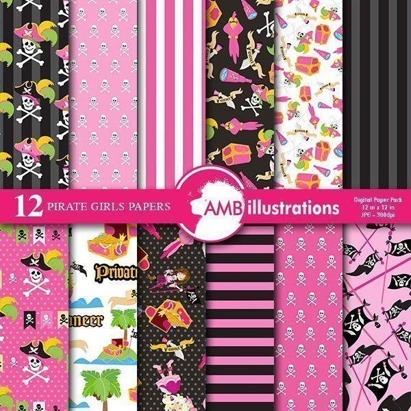 Pink Pirate Girl Digital papers  AMBillustrations    Mygrafico