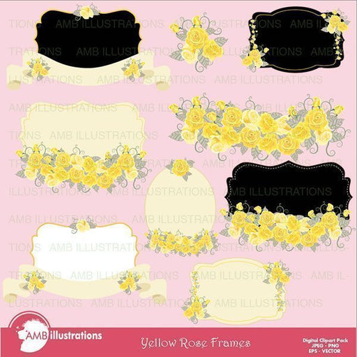 Yellow Rose Frames  AMBillustrations    Mygrafico
