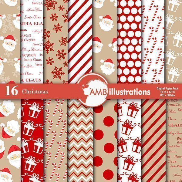 Christmas Digital Papers in Ginger and red  AMBillustrations    Mygrafico
