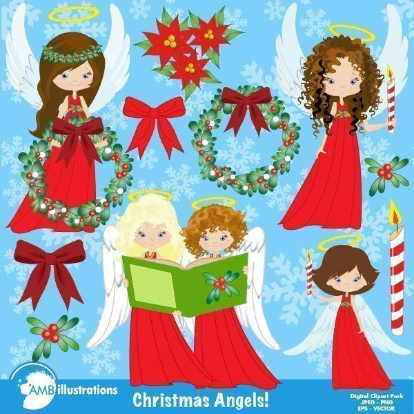 Christmas Angels Clipart  AMBillustrations    Mygrafico