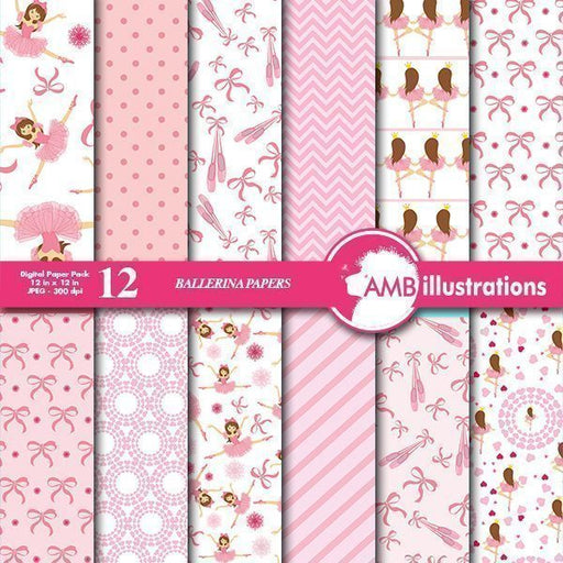 Ballerina digital papers, Ballet digital papers  AMBillustrations    Mygrafico