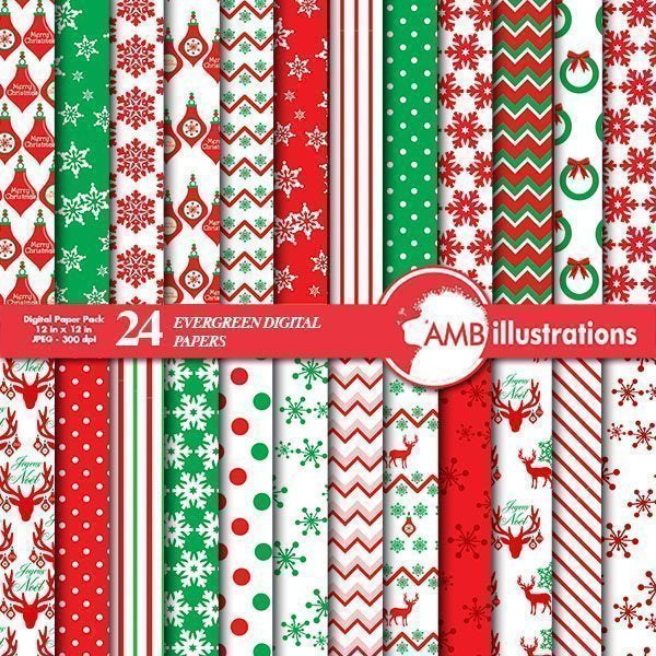 Christmas Evergreen Papers  AMBillustrations    Mygrafico
