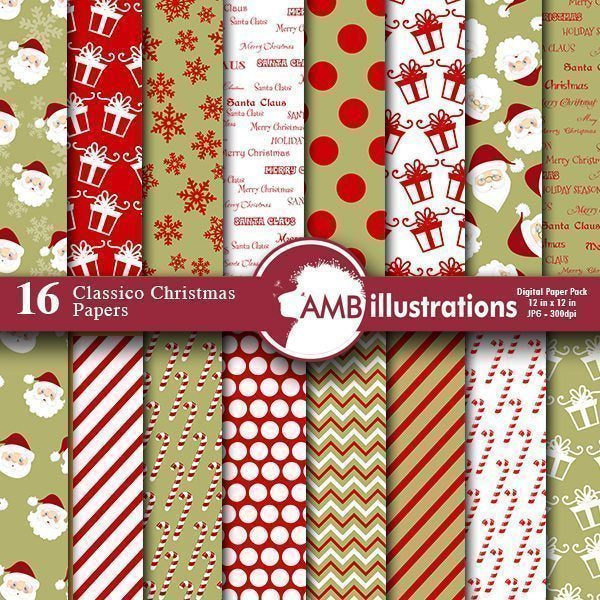 Christmas Papers in mature christmas colors  AMBillustrations    Mygrafico