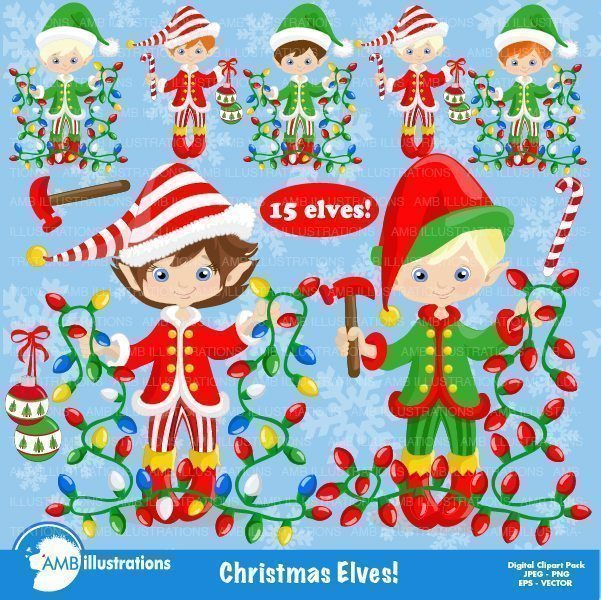 Christmas Elves Clipart Pack  AMBillustrations    Mygrafico