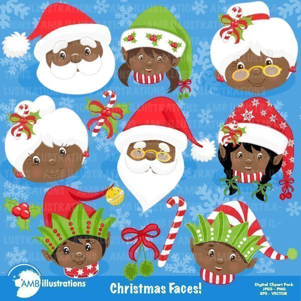 Christmas faces clipart pack 2  AMBillustrations    Mygrafico