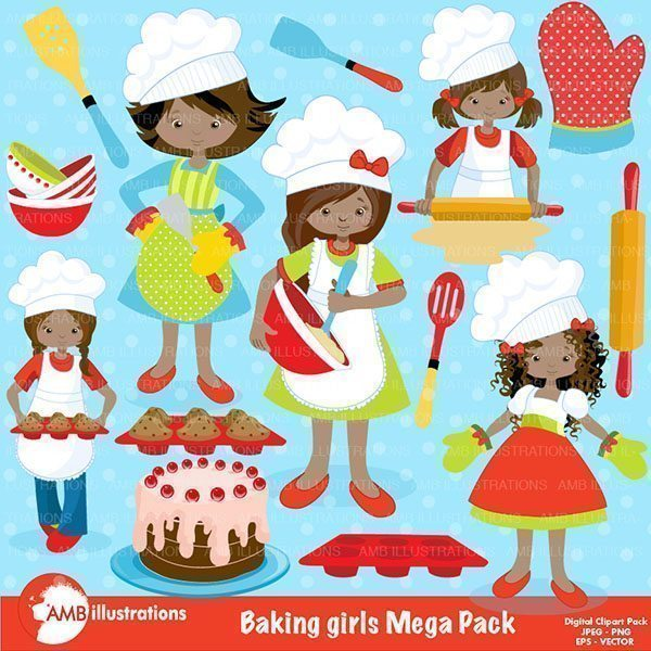 Baking Girls Clipart Pack 2  AMBillustrations    Mygrafico
