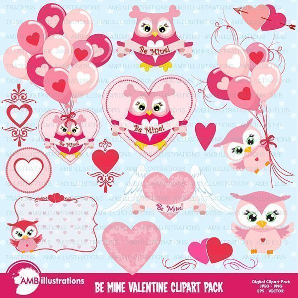 Be My Valentine clipart pack  AMBillustrations    Mygrafico