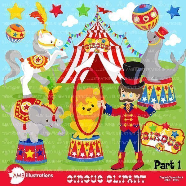 Circus Animals clipart pack  AMBillustrations    Mygrafico