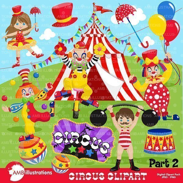 Circus Performers Clipart Pack  AMBillustrations    Mygrafico