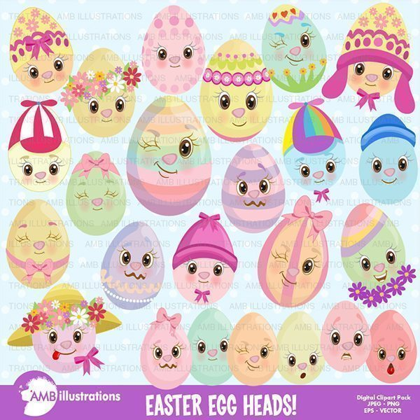 Easter Clipart -Easter Egg Heads Clipart AMBillustrations    Mygrafico