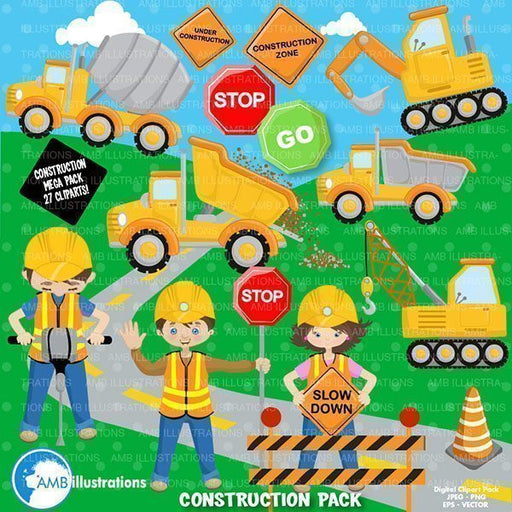 Construction clipart pack  AMBillustrations    Mygrafico