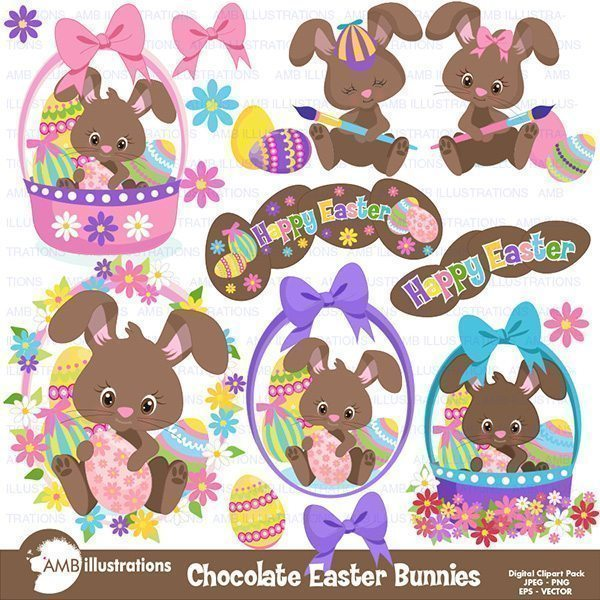 Easter Chocolate Bunnies  AMBillustrations    Mygrafico