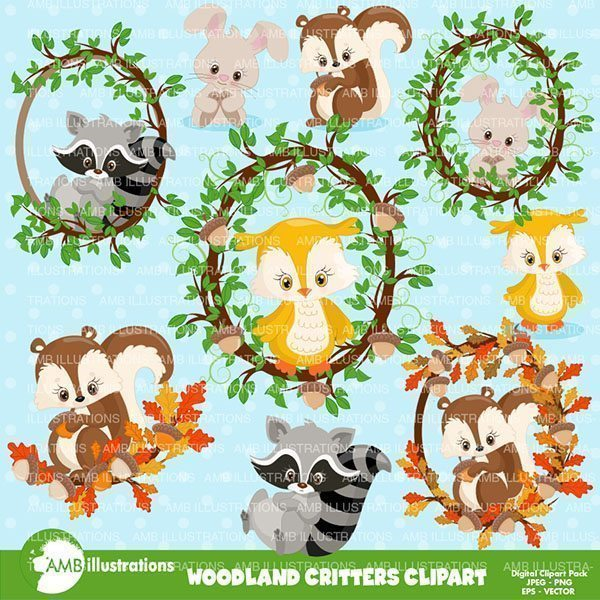 Woodland animals & frames  AMBillustrations    Mygrafico