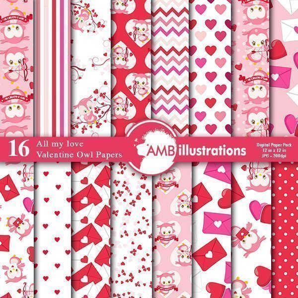 Valentine Owl Papers  AMBillustrations    Mygrafico