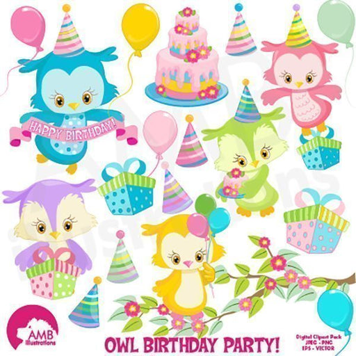 Birthday Owls clipart  AMBillustrations    Mygrafico