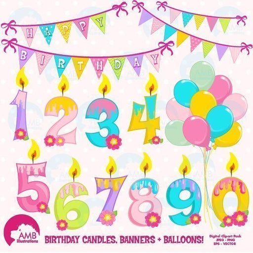 Birthday Candles and Numbers clipart  AMBillustrations    Mygrafico