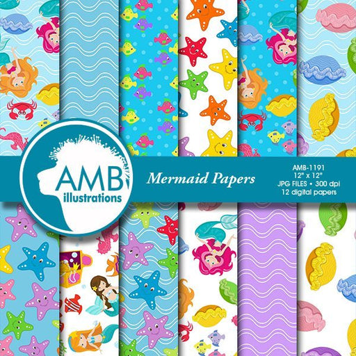 Mermaid Digital Papers  AMBillustrations    Mygrafico