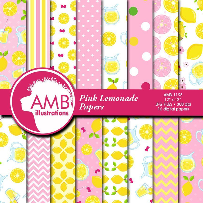 Pink Lemonade Papers Digital Papers & Background AMBillustrations    Mygrafico