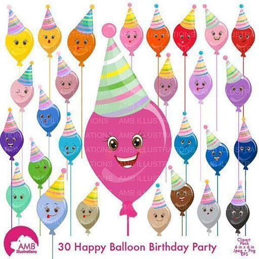 Balloon Faces Clipart  AMBillustrations    Mygrafico