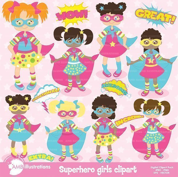 SuperGirl clipart pack  AMBillustrations    Mygrafico
