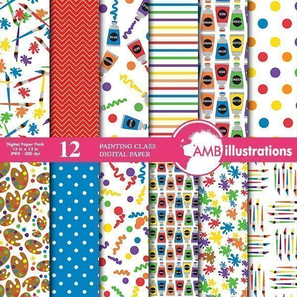 Painting class digital papers  AMBillustrations    Mygrafico