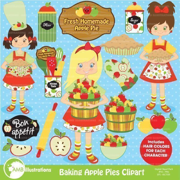 Apple picking clipart, apple baking clipart,  AMBillustrations    Mygrafico
