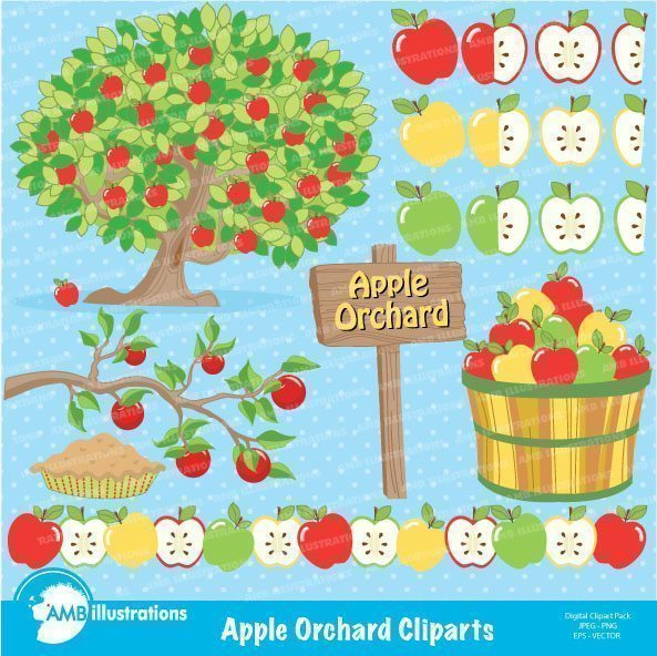Apple Orchard Clipart  AMBillustrations    Mygrafico