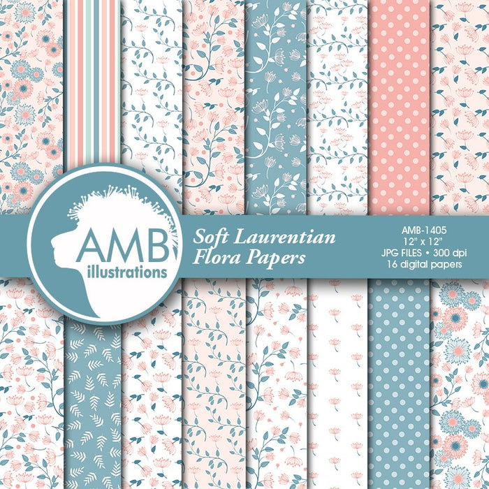 Shabby Chic Soft Laurentian Floral Papers  AMBillustrations    Mygrafico