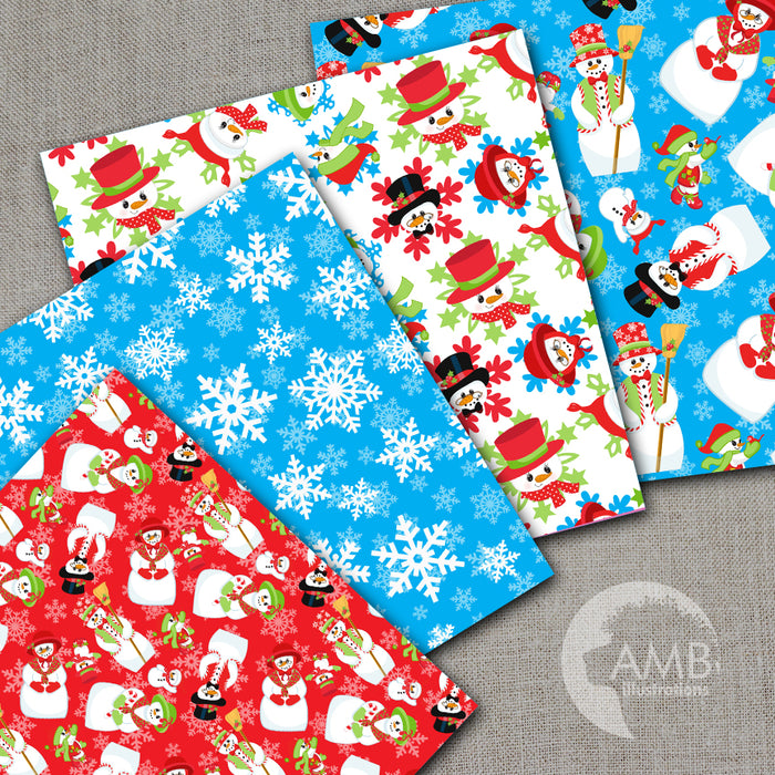 Christmas Digital Papers, Holiday Backgrounds, Scrapbooking, Snowman Family Papers, Christmas Snowmen Papers, AMB-1516 Digital Papers & Background AMBillustrations    Mygrafico