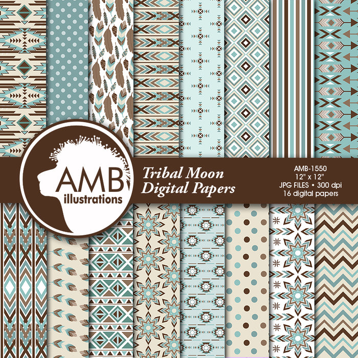 Arrows Tribal, Feathers Digital Papers, Tribal misty blue and brown Papers, Arrows Triangles, Chevron, instant download  AMBillustrations    Mygrafico
