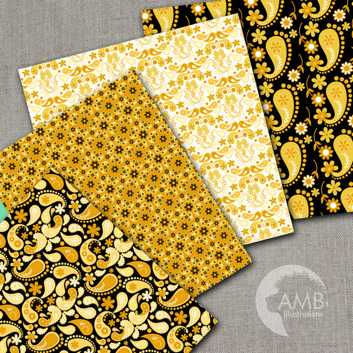 Gold Paisley Digital Papers, Shabby Chic, Vintage Paisley Papers, Gold and Black Floral Pattern, Scrapbooking Papers  AMBillustrations    Mygrafico