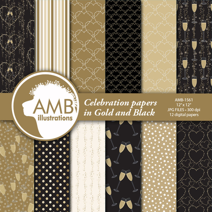 Celebration digital papers, Champagne papers AMB-1561  AMBillustrations    Mygrafico