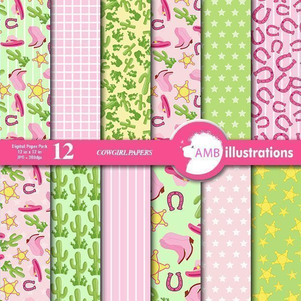 Cowboy-Cowgirl Digital papers  AMBillustrations    Mygrafico