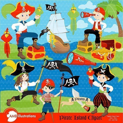 Pirate Yohoho Clipart Pack Cliparts AMBillustrations    Mygrafico