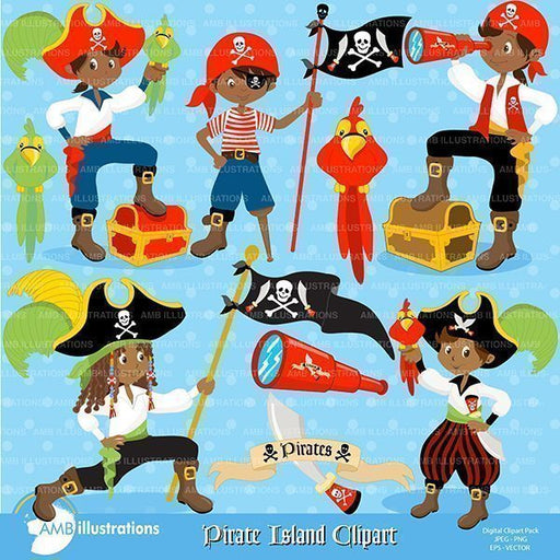 African American pirate clipart pack