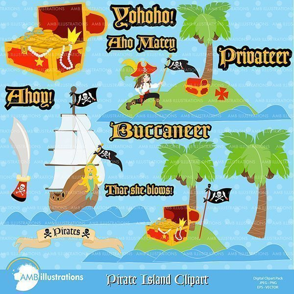 Pirate Island Cliparts  AMBillustrations    Mygrafico